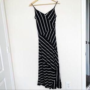 Calvin Klein black and white stripe maxi dress